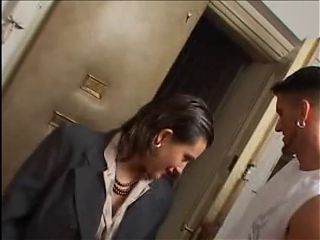 Woman In Grey Satin Blouse Gets Fucked