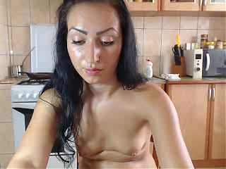 tanlines and pussy in kitchen